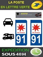 2 AUTOCOLLANT PLAQUE IMMATRICULATION DEPARTEMENT 91 LOGO REGION ILE DE FRANCE