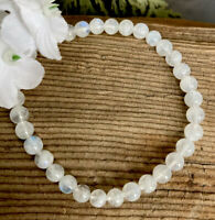 9g LOVELY LUMINOUS MOONSTONE CRYSTAL BEAD HEALING BRACELET Reiki INDIA