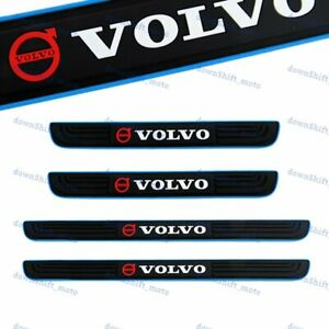 For VOLVO Blue Border Rubber Car Door Scuff Sill Cover Panel Step Protector 4pcs