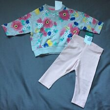 Baby Girl 4-6 Month H&M Gray Floral Print Sweatshirt & Pink Stretch Leggings