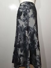 Per Una Maxi Silver Grey Floral Skirt Flare Satin Feel Shimmer Panelled UK 14 42