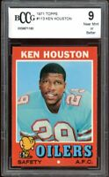 1971 Topps Ken Houston Rookie Card BGS BCCG 9 Near Mint+