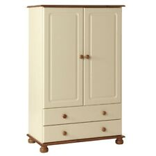 Wardrobe cream and pine home bedroom furniture 2 door 2 drawer Copenhagen
