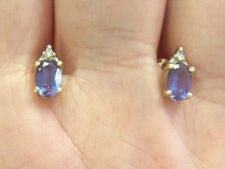 LQQK 14k solid yellow GOLD stud Earrings w/ Mystic Blue Topaz and Diamond accent