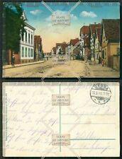 Orig. AK Bischheim Frankreich Bas-Rhin Straßenbahn Hauptstrasse gel. 1916