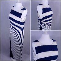 womens m&s long maxi dress size20 sleeveles stripes navy white marks and spencer
