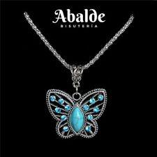 Collar Colgante Mariposa Amuleto Piedra Turquesa Color Plata Regalo ideal Mujer