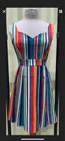 Modcloth Ixia Multicolor Striped Sweetheart Pleated Dress