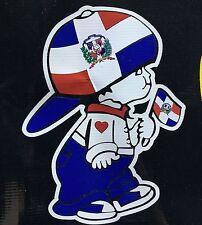 Dominican Republic Boy holding DR Republica National Flag Car Decal Sticker