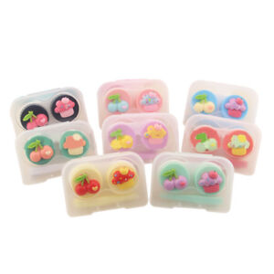 2 Boxes Contact Lenses Container Tweezers Sticks Included Cute Cherry Decor Gift