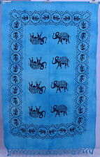 Indian Turquoise Wall Decor Tapestry Table Throw Elephant Mandala Wall Hanging