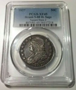 1827 Capped Bust Half $ PCGS XF45 Sq Base 2 Brunk S-88 H.Sage Counterstamp BCS/2