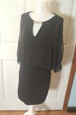 Cache Cocktail/ Party Dress (Black) - Size 4 s small rhinestone neck EUC