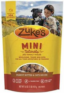 (2 Pack) Zuke's Mini Naturals Peanut Butter & Oats Recipe Dog Treats 16 oz