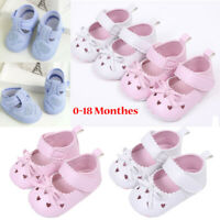 Newborn Infant Baby Girl Crib Shoes Soft Sole Anti-slip Sneakers Bowknot Shoes U
