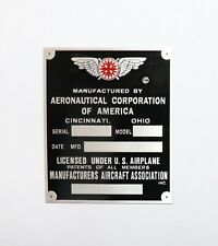 Vintage, Aeronca Data Plate, Cincinnati, Duplication of Original, Acid Etched!