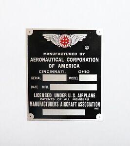 Vintage, Aeronca Data Plate, Cincinnati, Duplication of Original, Acid Etched!