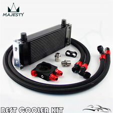 Universal New-style AN10 16 row oil cooler + thermostat Sandwich Plate kit Black