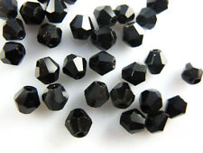 Bulk 50pcs Black Glass Crystal Faceted Bicone Beads 6mm Spacer Jewelry Findings