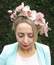 Beige Fawn Orchid Flower Fascinator Headband Headpiece Light Brown Hair Vtg 782