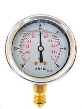 Compound Pressure Vacuum Gauge Glycerine Filled 63mm -1/+1 Bar &-30*Hg/+15 PSI