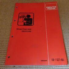 Deutz Fahr Driven Front Axle DEUTZ 002 Service Training Manual