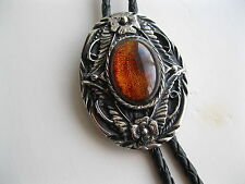 BOLO TIE #1138A - Oval with Amber Stone