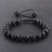 Man's Rock Lava Stone Beaded Yoga Gemstone Bracelets Energy Adjustable Bracelets