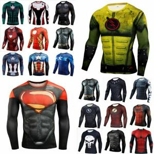 Mens 3D Print Muscle Superhero T-shirts Fitness Tights Long Sleeve Tee Tops