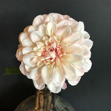 Peach Faux Silk Dahlia. Artificial Spring Pom Pom Flowers