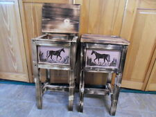Set of 2 horse tables  nightstands  end tables  made in Maine solid wood