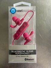 ONN In Ear  Earbud Headphones with Bluetooth Connection and In-Line Mic Pink