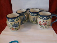 4 NEW Certified International PAMELA GLADDING FLORA COFFEE MUGS CUPS