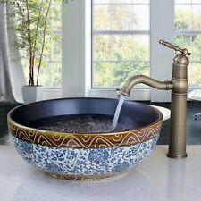 Vanity Antique Brass Tap Faucet Classical Round Ceramic Bowl Bathroom Sink Basin