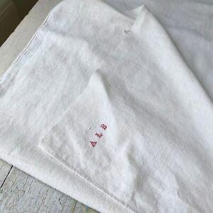 1700s French linen dish towel ALB monogram hand kitchen towel farmhouse