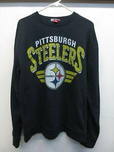 Mitchell & Ness Black Cotton Blend Pittsburgh Steelers Crewneck Sweatshirt Sz XL