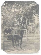 Tintype – w/ Optical Illusion ~ 2 Men in Horse Drawn Buggy / Only One Wheel