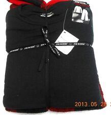JOE BOXER MENS PAJAMAS PJS BLACK WAFFLE CREW TOP BLACK RED FLEECE BOTTOMS SMALL+