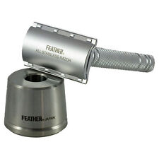 Feather AS-D2S Double Edged All Stainless Steel Safety Razor & Stand + 5 Blades