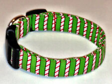 Charming Green Christmas Holiday Candy Cane Stripes Dog Collar X-Small
