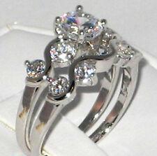 Wedding 2 Ring Set - Size 7 Elegant and Dainty Cubic Zirconia Bridal Engagement