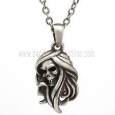 Reaper Skull Pendant Necklace Pewter Jewelry J310