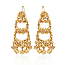 Vintage Long Chandelier Earrings Bollywood Style Gold Plated Costume Jewelry New