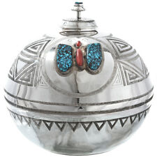Vintage Turquoise Coral Butterfly Sterling Vase Handmade Comanche White Buffalo