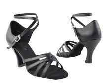 1606 Black Leather Swing Ballroom Salsa Mambo Latin Dance Shoes heel 3 Size 5.5