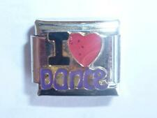 I LOVE DANCE HEART ITALIAN CHARM  fits all 9mm Italian bracelets H16