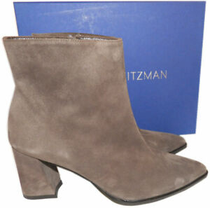 $525 Stuart Weitzman Notazzie Boots Ankle Slate Gray  Booties 7.5 Pointy Toe