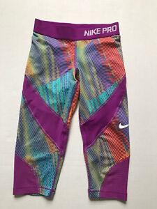 Nike Pro Sz S Purple Dri Fit Hypercool 3/4 leggings Neon Orange Blue Mesh