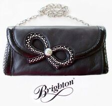 "Brighton ""Femme Fatale"" Black Leather Pouch with Bow - Small Handbag NWT - $125"