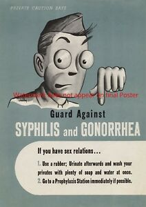 WWII Poster Private Caution Guard Against Syphilis Gonorrea Propaganda US Army